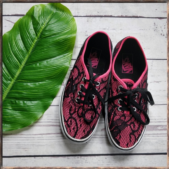 VANS Neon Pink Black Lace Authentic Sneakers 7. M 5aac8849fcdc317f461b070b b30361872e8b
